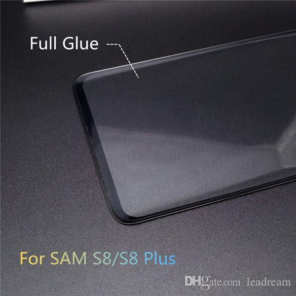 Top 3D Vollkleber Adhensive Case Friendly Gehärtetem Glas Telefon Displayschutzfolie für Samsung Galaxy S8 S9 Plus Hinweis 8 freies DHL
