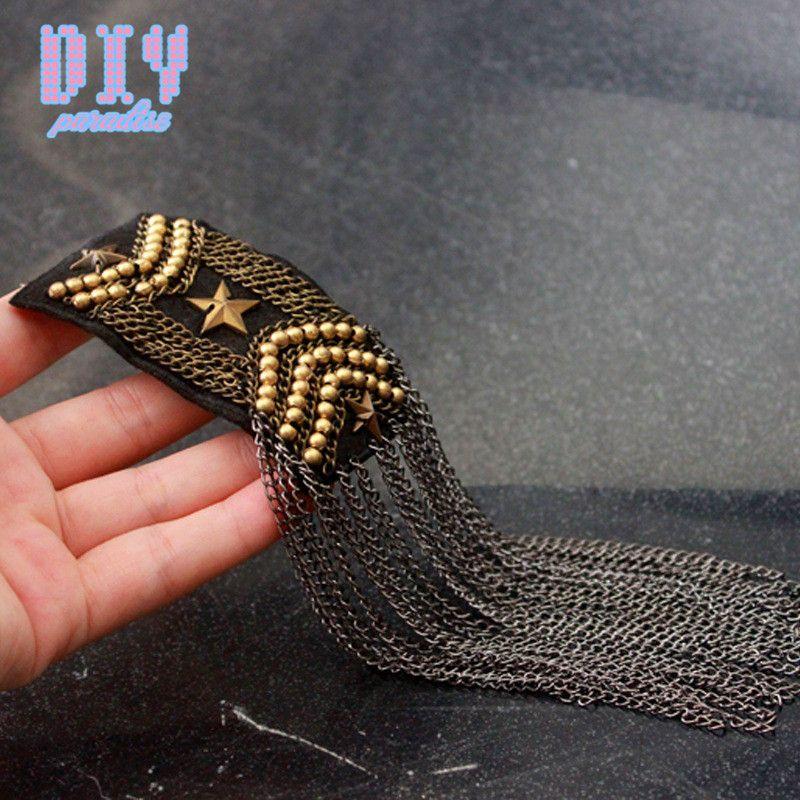 10 PZ Handmade Moda Nappa Catena Spalla Distintivi Tessuto Metallo Epaulette Pin militare su Spilla Meda