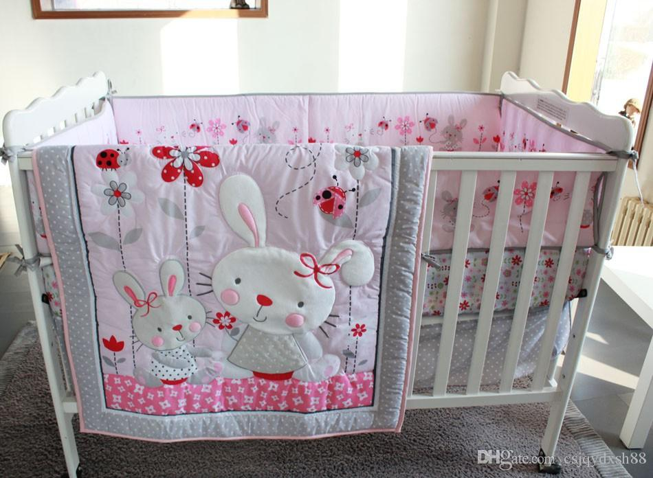 Embroidery 3D Rabbit Wild Flowers Insects Baby Bedding Set Baby Crib  Bedding Set Quilt Bumper Bed Skirt Mattress Cover Baby Bedding Set Baby  Crib Bedding ...
