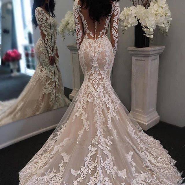 6b4b0cf97 Vestido De Noiva Sereia Com Renda Lindo Mangas Compridas Apliques De Renda Sereia  Vestidos De Casamento Vestidos De Noiva 2018 Com Decote Em V Sheer Botão ...