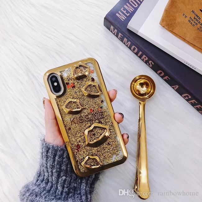 3D Dynamic Liquid Quicksand Sexy Mouth Girls Electroplate Lips Phone Case For iPhone XR XS Max X 8 7 S9 Plus Huawei P20