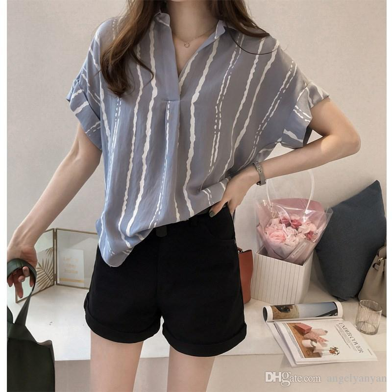 b3f91681e87 2019 2018 Summer Plus Size Striped Print Women Blouse Loose Chiffon Short  Sleeve Casual Shirts Fashion V Neck Batwing Sleeve Tops From Angelyanyan