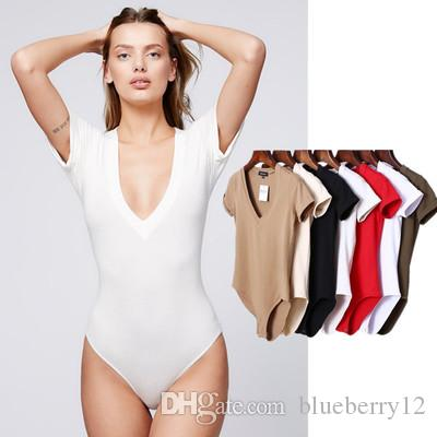 Summer Solid Bodysuit Women Deep V Neck Short Sleeves Sexy Bodysuit Women  Top Jumpsuit Romper Onesie Body Feminino UK 2019 From Blueberry12 efdd7f3d3c