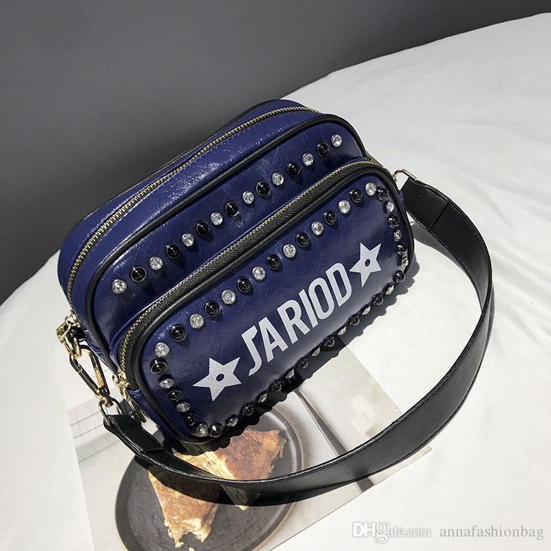 441b3e368360 High Quality Women Rivet Stud Crossbody Bags Female Women Leather ...