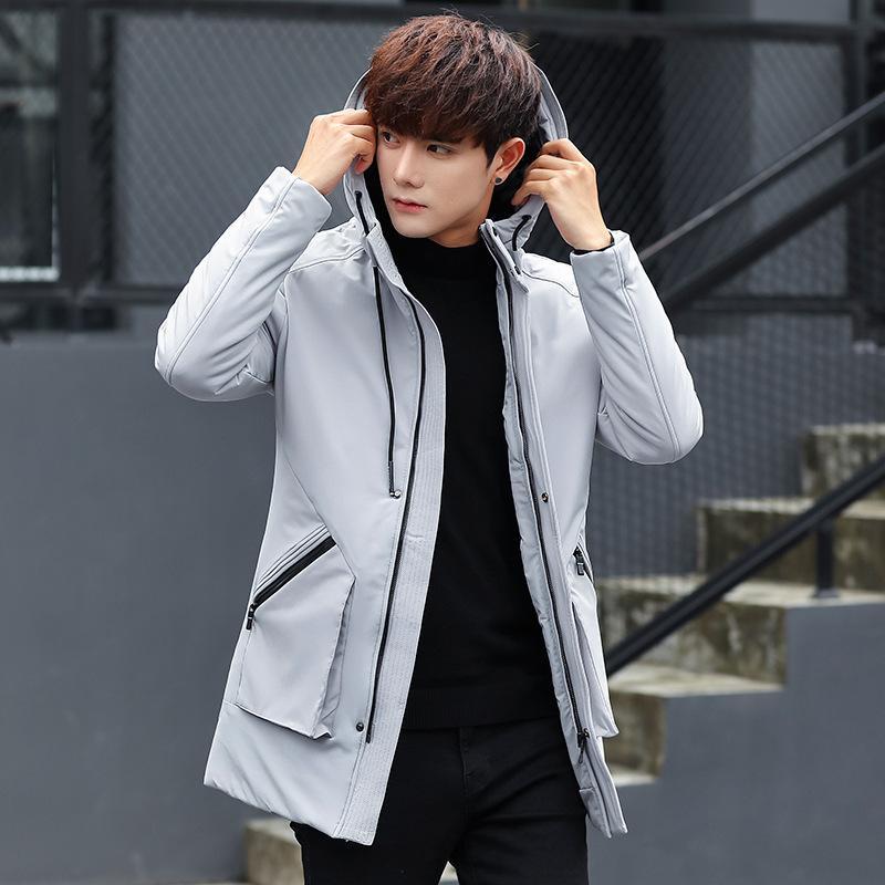 b613f558b Estilo coreano sudadera con capucha larga de invierno Parkas chaqueta  hombres sólido cremallera caliente gruesa capa bolsillos para hombre ropa  más ...