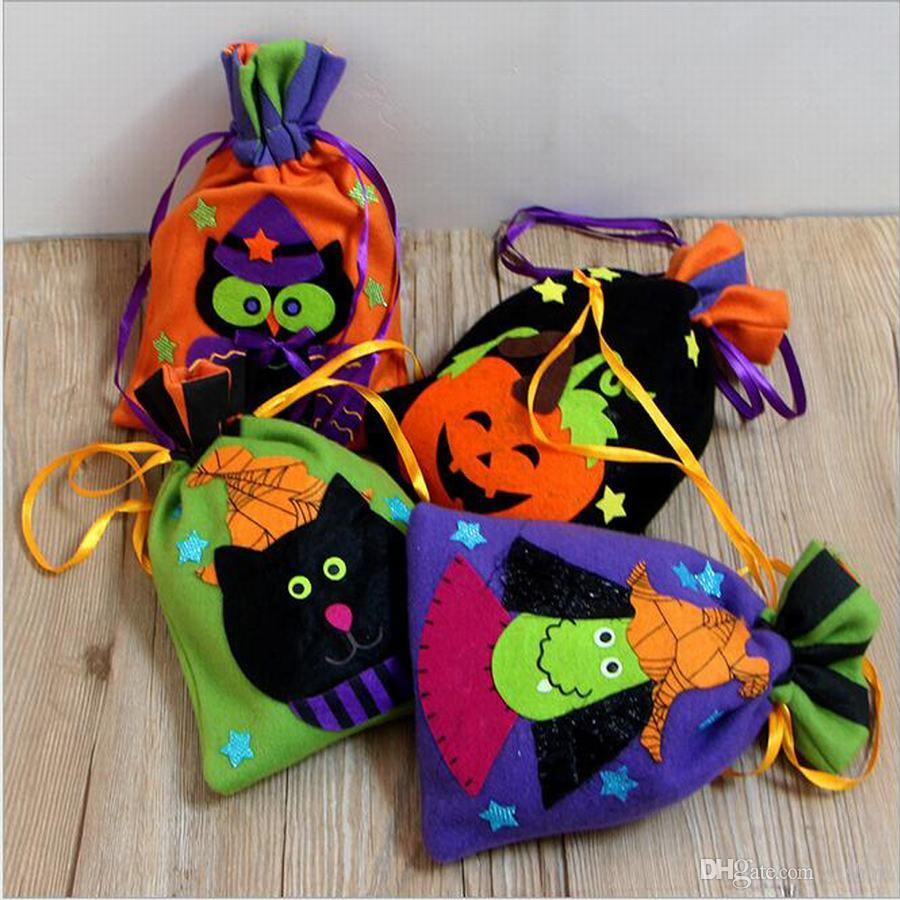 halloween party decorations non-woven bundle mouth candy bag gift