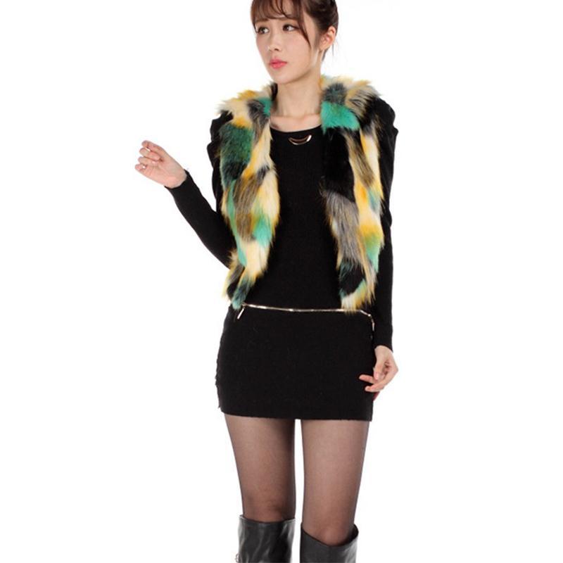 new arrival 59431 c7f0b Gilet in pelliccia sintetica di colore graduale delle donne Cappotto corto  in pelliccia sintetica colorata breve Gilet donna in pelliccia di volpe ...