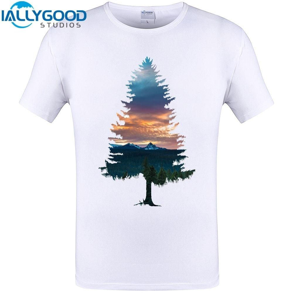 dc6461fd Cool Spruce Tree Design New Arrival Men Summer Short Sleeve T Shirt  Creative Cotton Printed Tops Plus Size Customized Tee S Print Shirt Long Sleeve  Tee ...