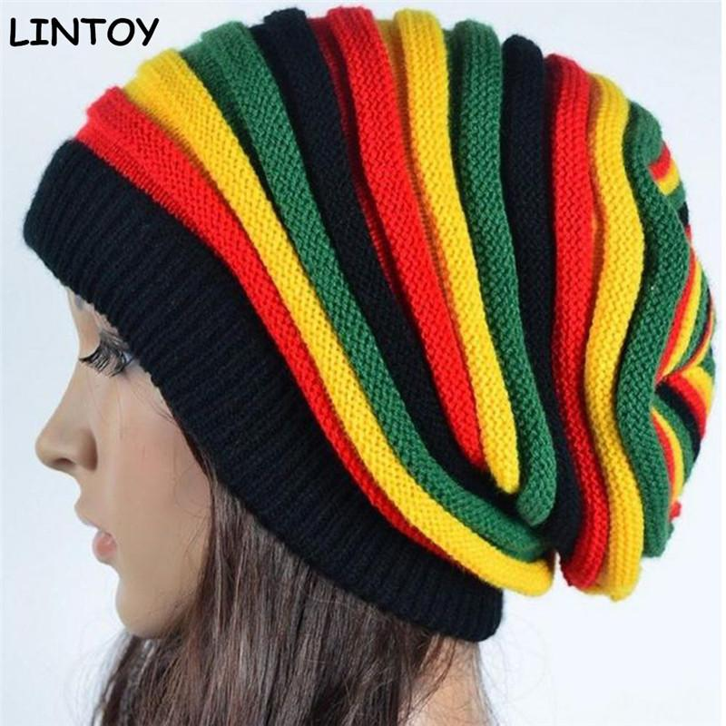 Jamaica Reggae Gorro Rasta Style Cappello Hip Pop Men's Winter Hats Female Red Yellow Green Black Fall Fashion Women's Knit Cap Custom Rasta Hat Crochet Pattern