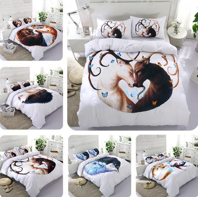 3d Animal Duvet Cover Tiger Lion Wolf Deer Printed Design