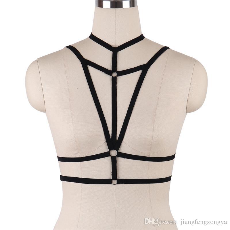 Womens Sexy Body Harness Schwarze elastische Riemchen Tops Cage BH Zurück Größe Goth Fetisch Erotische Bondage Dessous Rave Wear