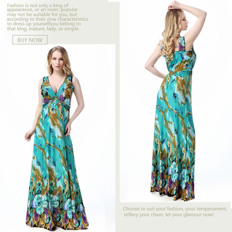 Fashion Flora Printed Sexy V-Neck Casual Dresses Women Summer Sleeveless Evening Party Beach Dress Chiffon Dress BOHO Plus Size Dress XL-6XL