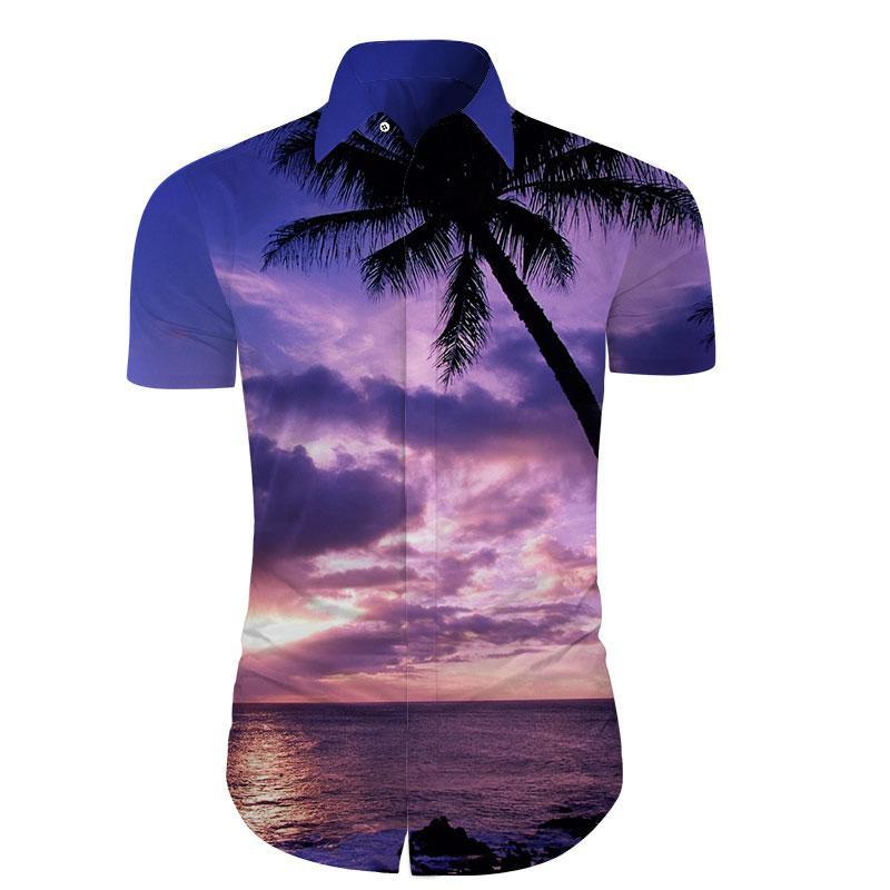c64b2e0519 Compre Cloudstyle Camisas Masculinas De Verão 3D Impressão Sandbeach Camisa  Havaiana Pôr Do Sol Camisa Masculina De Manga Curta Camisa Dos Homens  Vestido ...