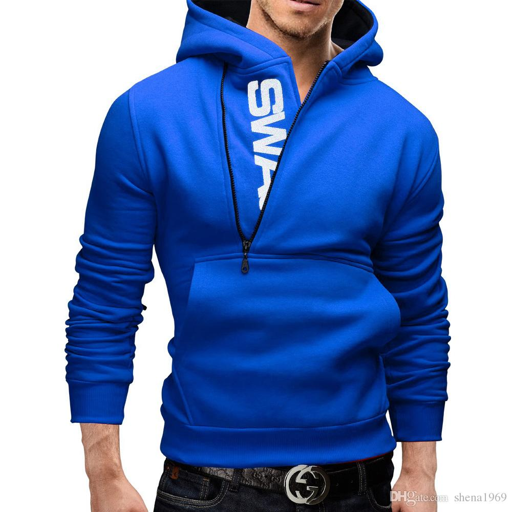 Men's sweater letter LOGO side zipper Mens Hooded Jacket