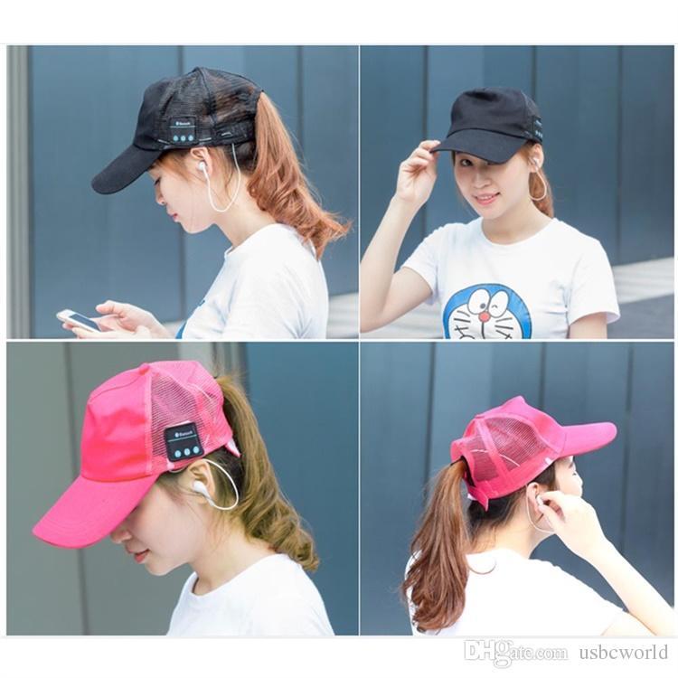 Wireless Bluetooth Headphone Music Sports Mesh Cap Hands-Free Mic Earphone Sun Cap For Iphone Samsung