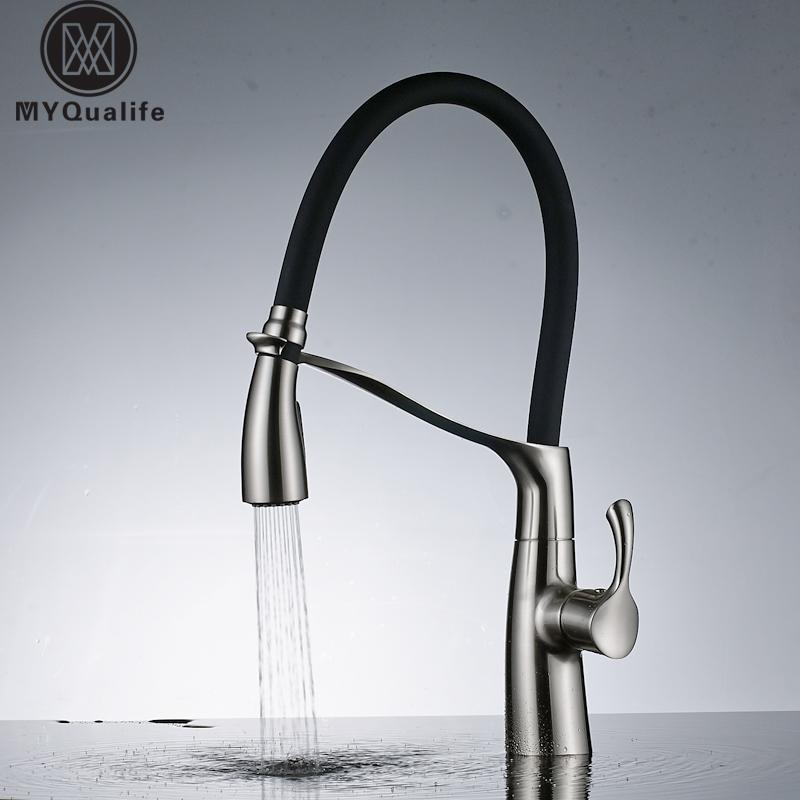 Brushed Nickel 360 Swivel Brass Kitchen Mixer Sink Tap Pull Down With Bracket Bathroom Faucet Hot And Cold Crane