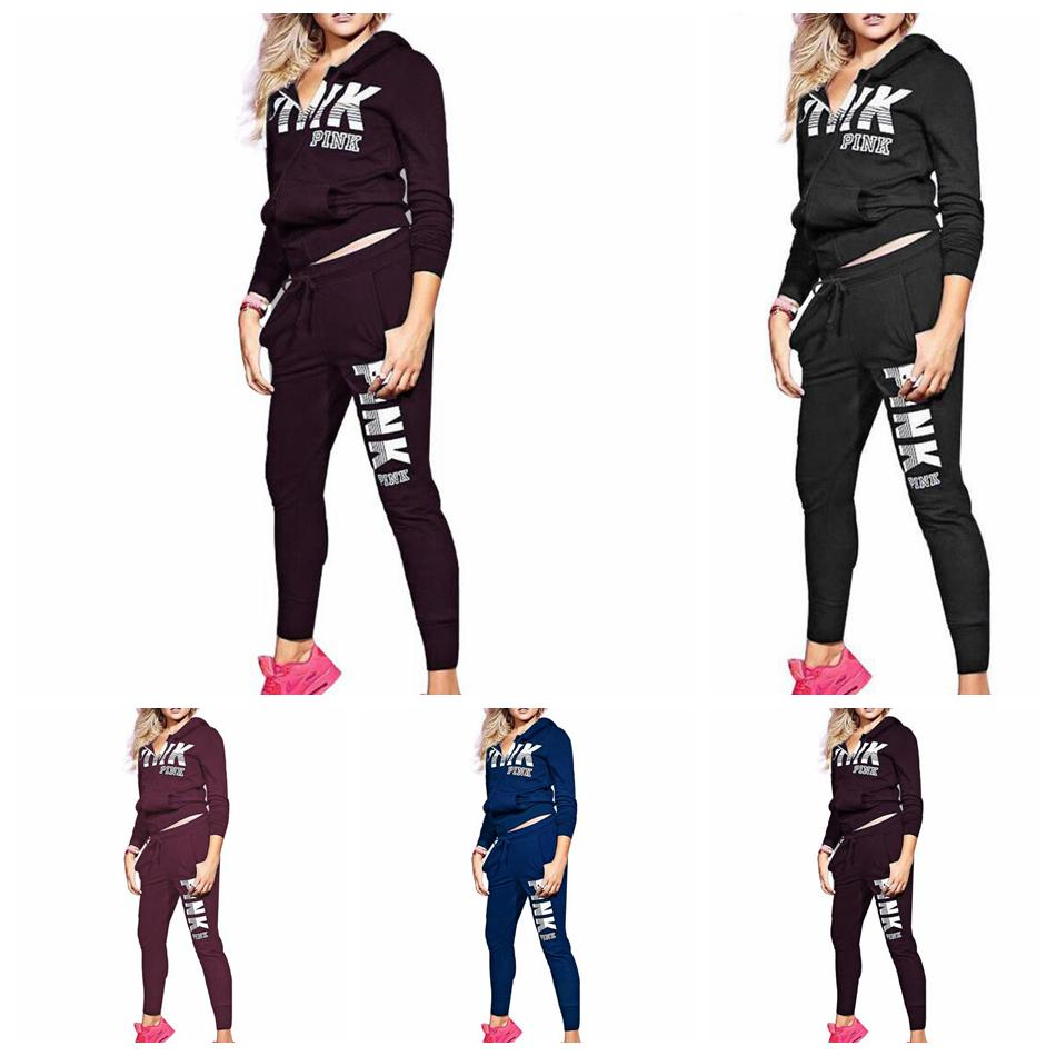 dd644b2b0 Pink Letter Long Sleeve Tracksuit Outfits Zipper Hooded Letter ...