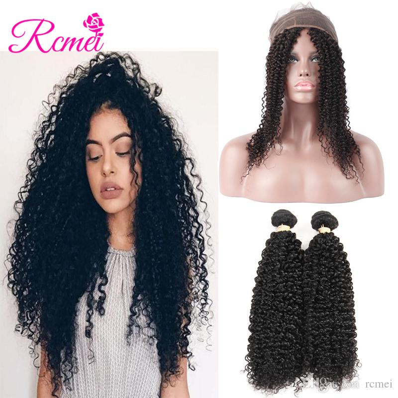 Closures Human Hair Weaves Cheap Sale Rcmei Brazilian Kinky Curly Pre Plucked 360 Lace Frontal Closure 22*4*2 Inch Curly Hair 360 Lace Front Closure Remy Kinky Curly