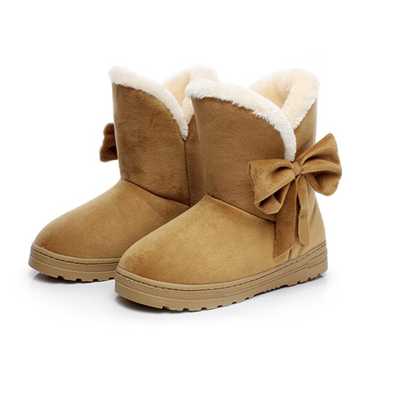 c90c5edf09035 Compre 2019 Botines De Gamuza De Invierno Piel De Mujer Bowtie Botas De  Algodón Planas Para Mujer Calzado Sin Cordones Calzado Corto Bota De Nieve  QST905 ...