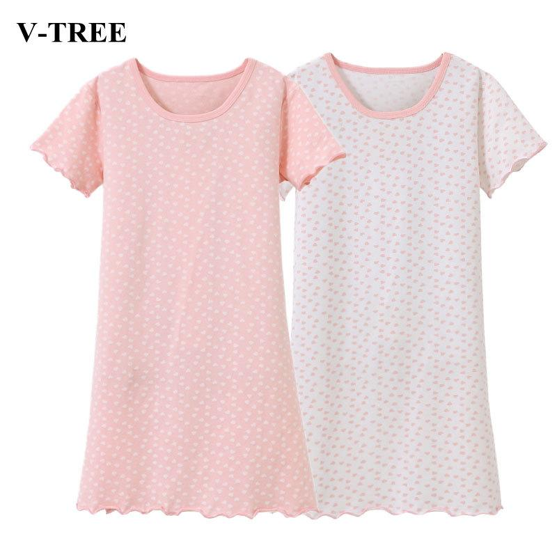 971311d69 Pure Color Girls Sleepwear Dot Nightgowns For Girl Summer Kids ...