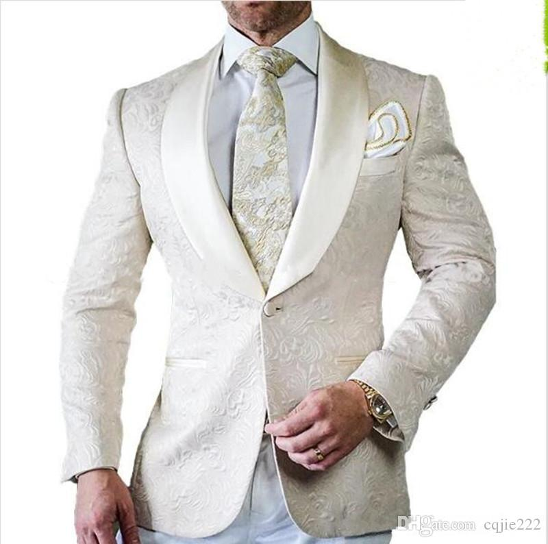 New Arrival Groomsmen Ivory Pattern Groom Tuxedos Shawl Satin Lapel Men Suits Side Vent Wedding/Prom Best Man  Jacket+Pants+Tie  102