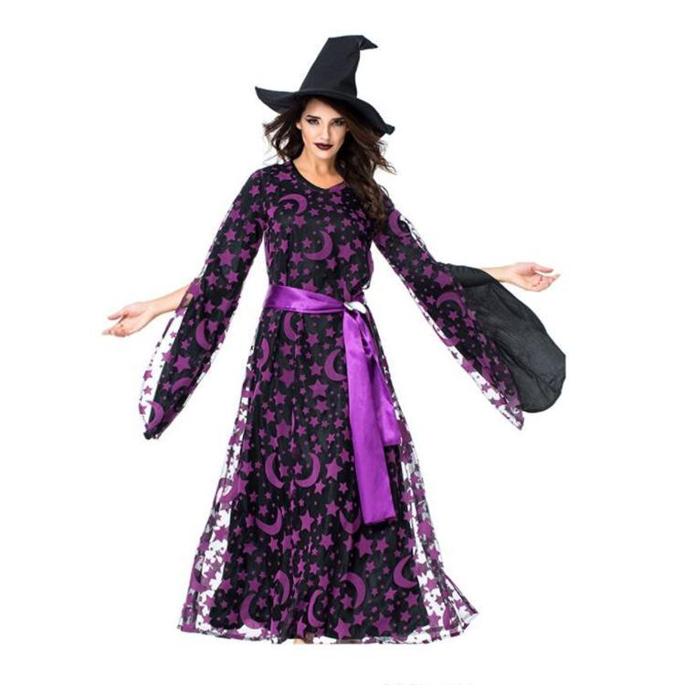 88f2c07ca9 2018 HOT Adult Purple Evil Witch Costume Female Cosplay Costume Halloween  Wandering Soul Gothic Witch Long Dress Online with  59.43 Piece on  Lianmeijack s ...