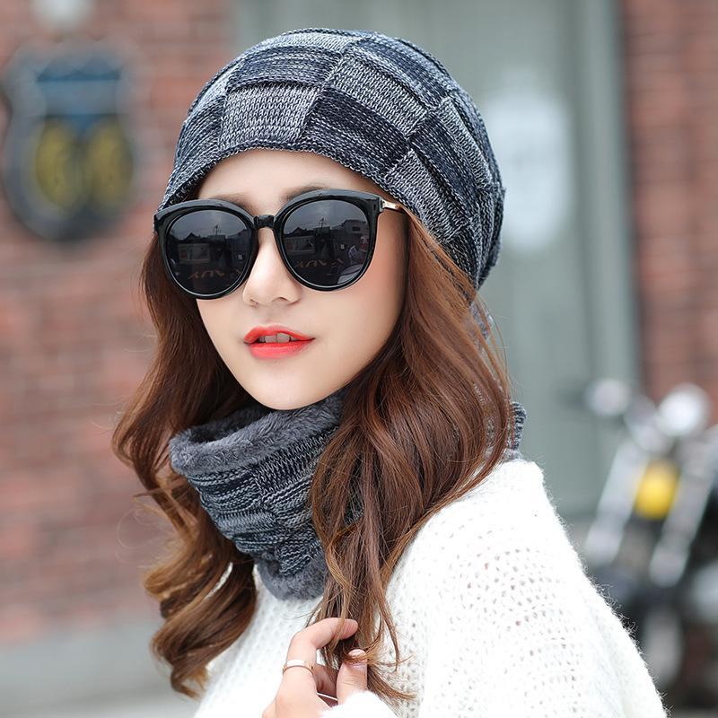 18adef6db Balaclava Women's Knitted Hat Scarf Caps Neck Warmer Winter Hats For Men  Women Skullies Beanies Warm Fleece Cap Plaid 6 Colors