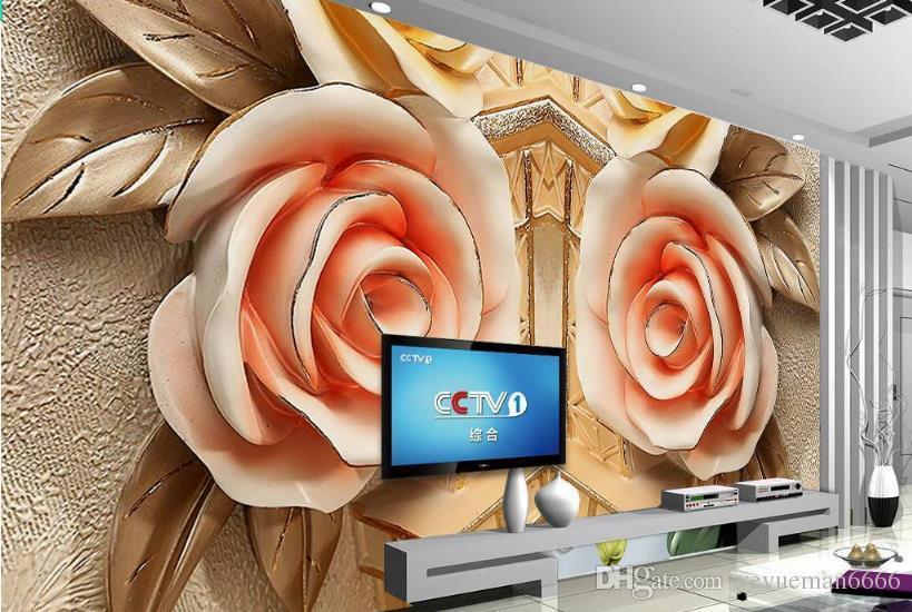 Alivio de las rosas europeas papel tapiz 3d mural pintura decorativa murales fondo pared