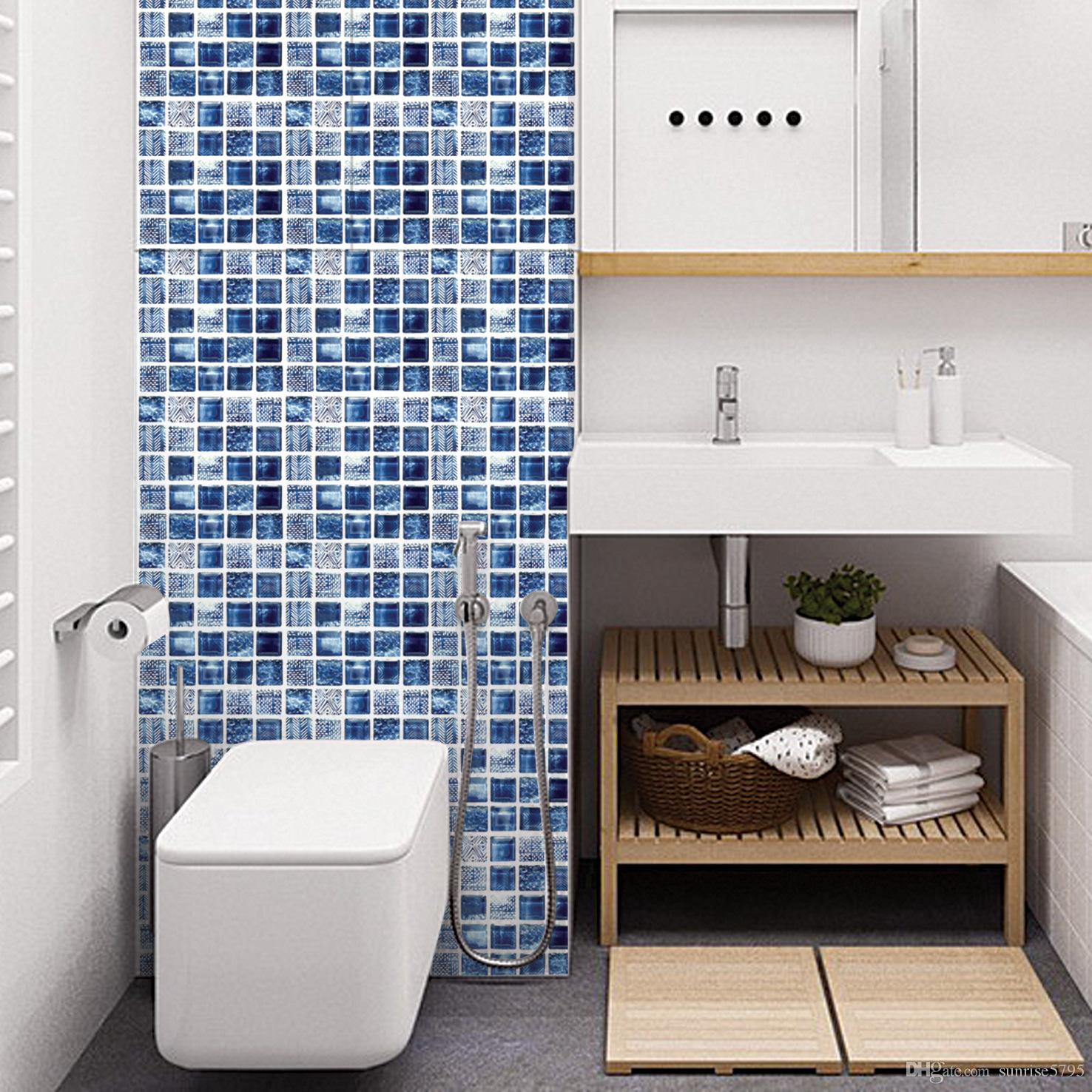 Blue 3d Tile Stickers Mosaic Wall Sticker Room Decoration ...