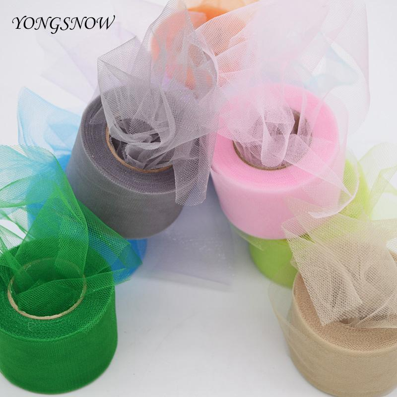 2Inch * 22Yards Shining Tissue Tulle Roll Paper Spool Tutu Crystal Organza Fabric Pom Poms For Wedding Party Decoration 8Z