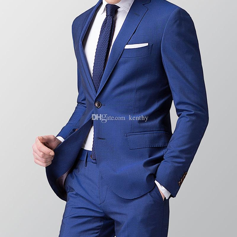 Neue 2 Stück Anzug In 2018 Mode Herren Navy Anzüge Blazer Hosen Formale Kleid Anzug Männer Hochzeit Anzüge Bräutigam Smoking Exquisite jacke + Pants Verarbeitung