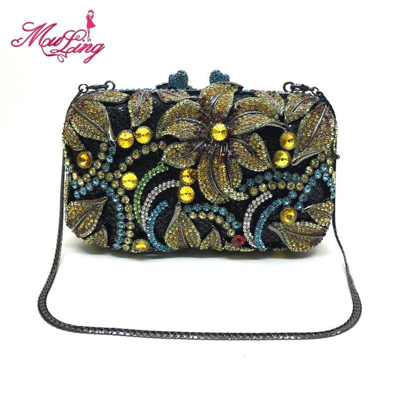 New design women luxury flower rhinestone handbag crystal evening party purses clutches bridal wedding diamonds clutches bags