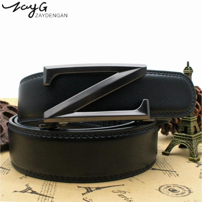 ZAYG Men High Quality Belt Men's Design Luxury Exquisite Letter Z-type Automatic Buckle Belt Fashion Retro Alloy Buckle