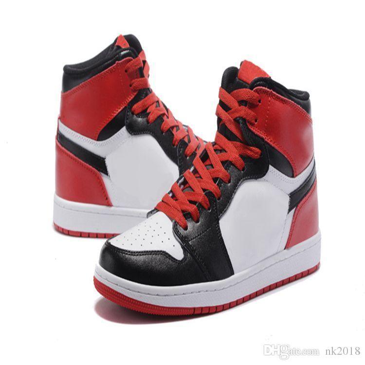 d64921ebcbd Compre Nike Air Jordan 1 Aj1hombres De La Zapatilla De Deporte De La Alta  Calidad Campeón De Chicago 1c Zapatilla De Deporte Del Muchacho Rojo Y  Blanco ...