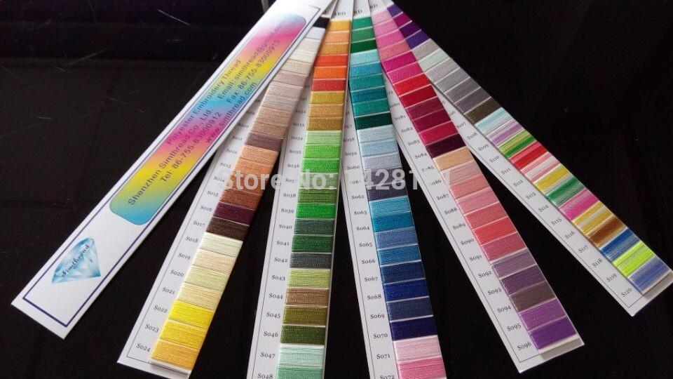 Simthread Polyester Embroidery Thread Color Chartcolor Shade Card