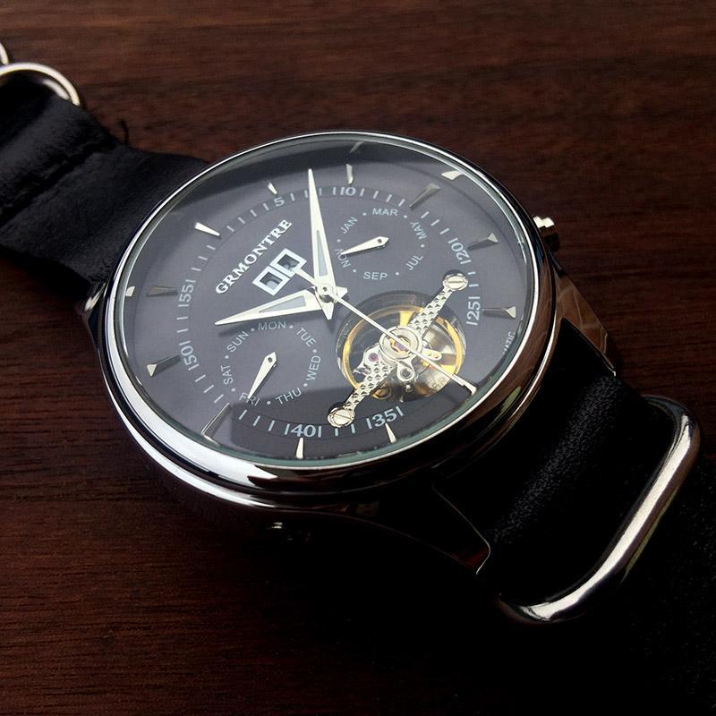 b497280ae56 Compre 44mm Relógio Mecânico Para Homens GRMONTRE Homens De Luxo Relógios  De Esqueleto Automático Relógios De Pulso De Couro À Prova D  Água Relogio  ...