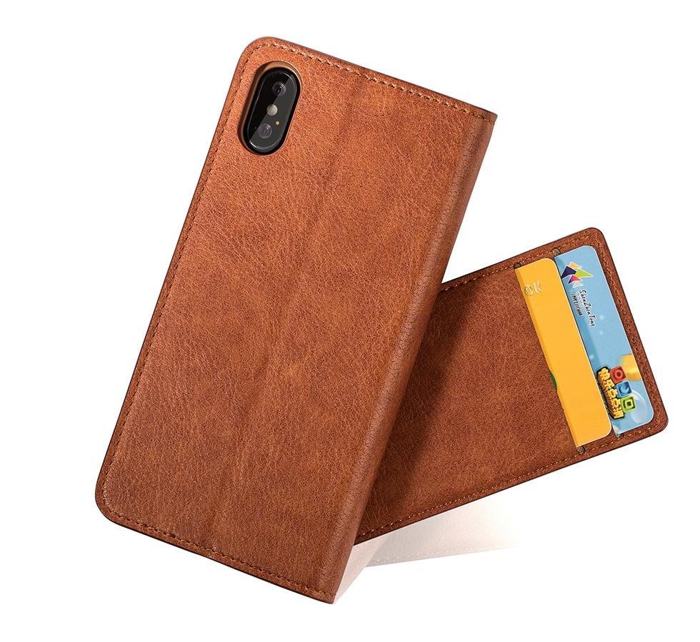 For iphone X 7 Plus Galaxy Note 8 S8 plus Real Genuine Leather Wallet Credit Card Holder Stand phone Case Cover For iphone 8 6S plus