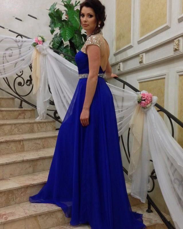 Высокий воротник бисером укупоренные рукава вечерние платья с открытой спиной длинные линии шифон фрейлина платья партии