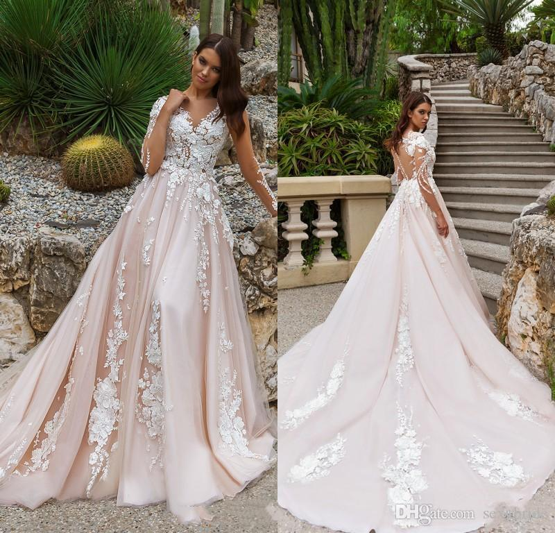 2018 Bridal Long Sleeves V neck Backless Heavily Embellished Lace Embroidered Romantic Princess Custom Made A Line Lace Wedding Dress Sheer