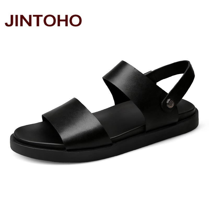 ba4932ed8e3 JINTOHO 2017 New Men Sandals High Quality Men Leather Sandals Summer Beach  Shoes Leather Slippers For Fashion Slides Girls Sandals White Sandals From  ...