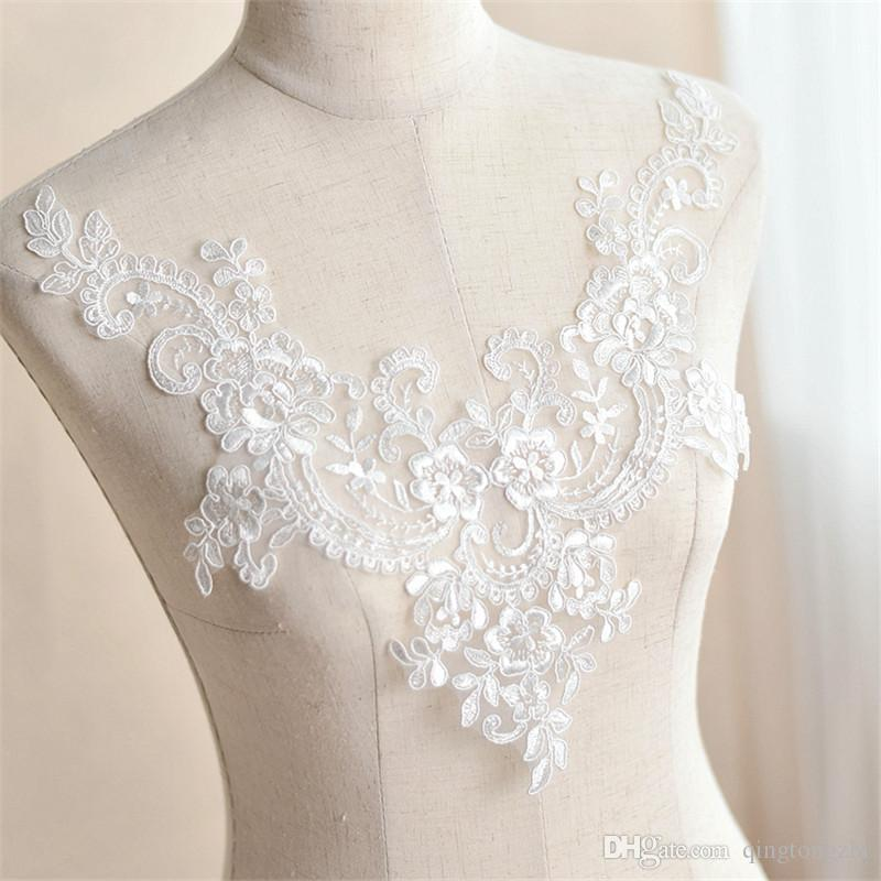 Meetee Placket Applique For Wedding Dress White Collar Fabric Patch Lace For Gown Handmade 3d Diy Bridal V Type Neckline Accessories Fz016