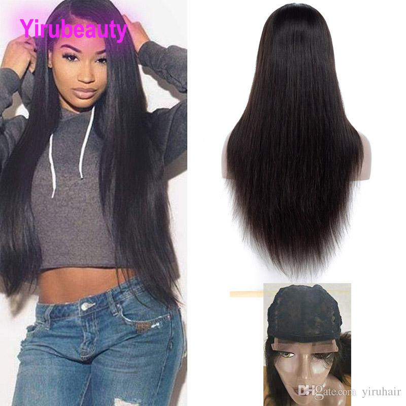 Indian Raw Human Hair Virgin Lace Wigs 4X4 Lace Closure Wigs 8-26inch Free Part Indian Virgin Hair Products 4 By 4 Lace Closure Wigs