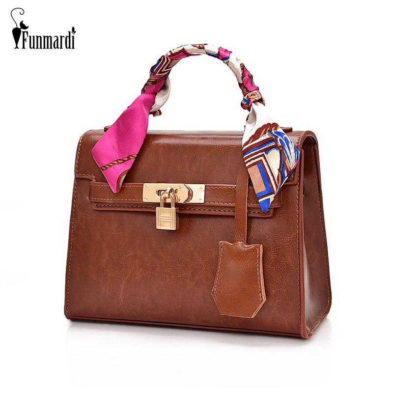 914b05c77e44 FUNMARDI Luxury Handbags Women Bags Designer Lock Brand Bag PU ...