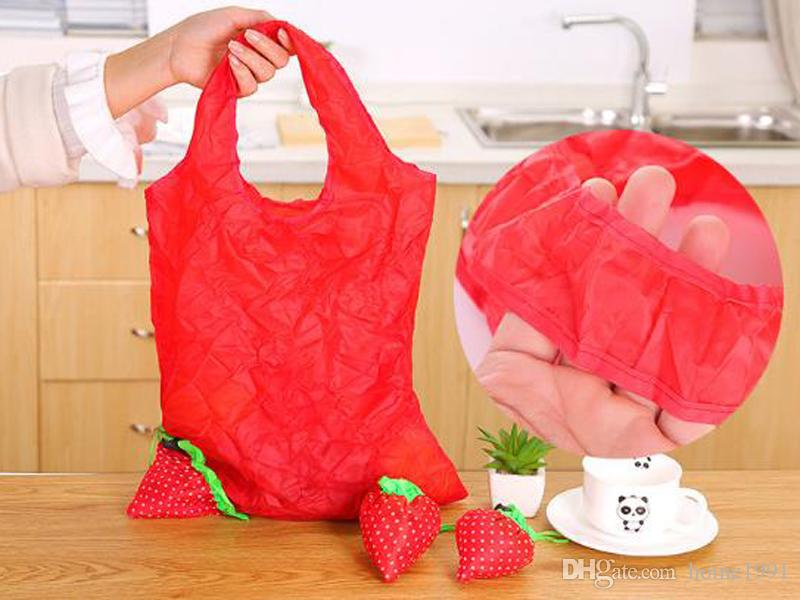 New Eco-friendly Storage Handbag Reusable Strawberry Foldable Shopping Bags Portable Storage Handbag Nylon Beautiful Reusable Tote Bag