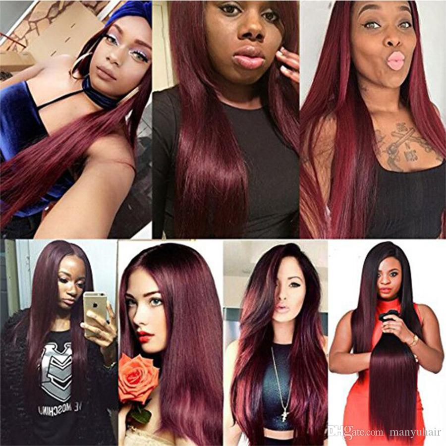 8A Ombre Brazilian Silky Straight Virgin Hair Weaves Two Tone 1B99J Burgundy Wine Red Peruvian Malaysian 3 Bundles With Closure