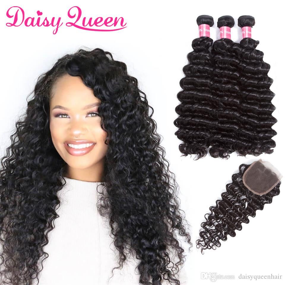 Indian Deep Wave With Closure Raw Virgin Indian Hair With Closure 8a