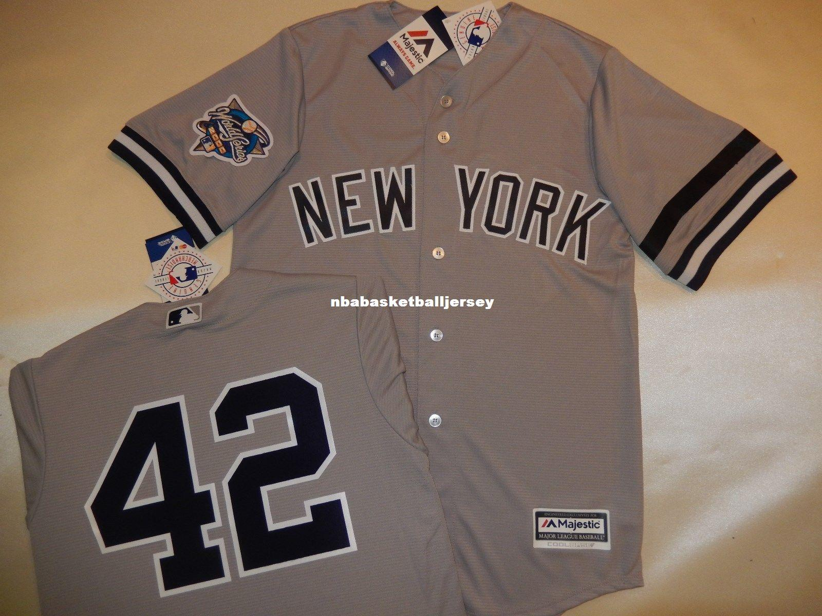 a2d1b5b9f ... where to buy cheap custom new york 42 mariano rivera 2000 world series baseball  jersey gray