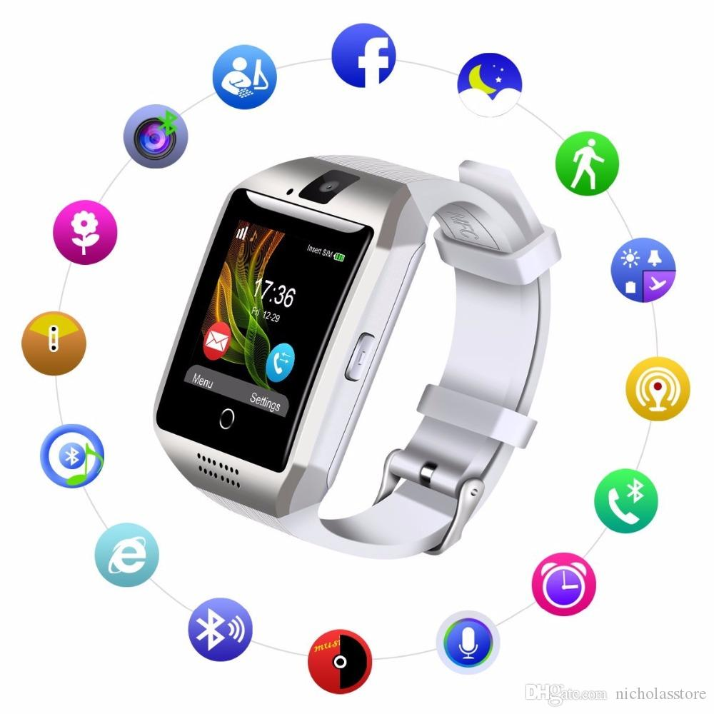 Q18 Bluetooth Smart Watch for Android Cellphone Support SIM Card Camera  Answer Call Touch Screen Various Language With Retail Packing Box