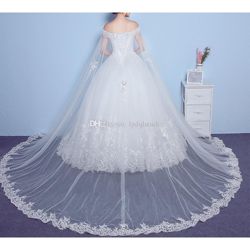 Robes de mariée grande taille Sexy hors de l'épaule Robe de mariée Robes de mariée Sheer avec des paillettes de perles avec Bolero détachable 2018