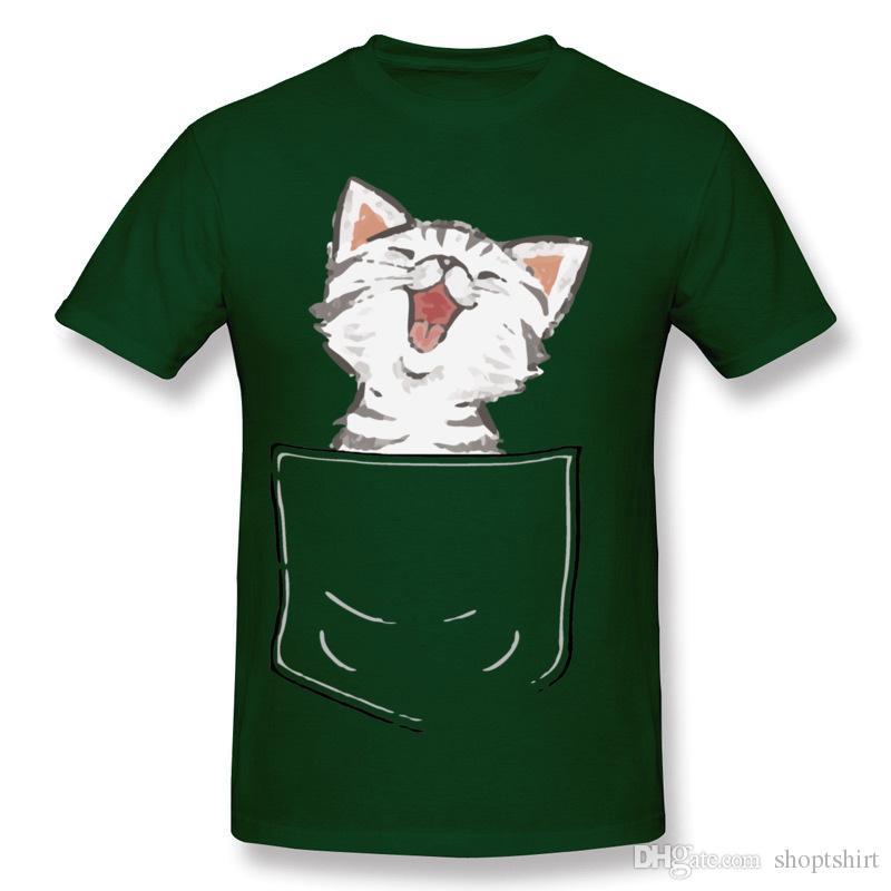 Discount Man 100% Cotton Kitten in my pocket Tee-Shirt Man O-Neck Black Short Sleeve Tee-Shirts 6XL Party Tee-Shirt